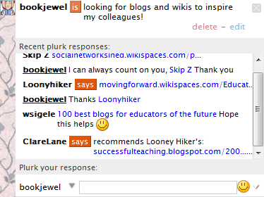 Using Plurk to find quality blogs and wikis